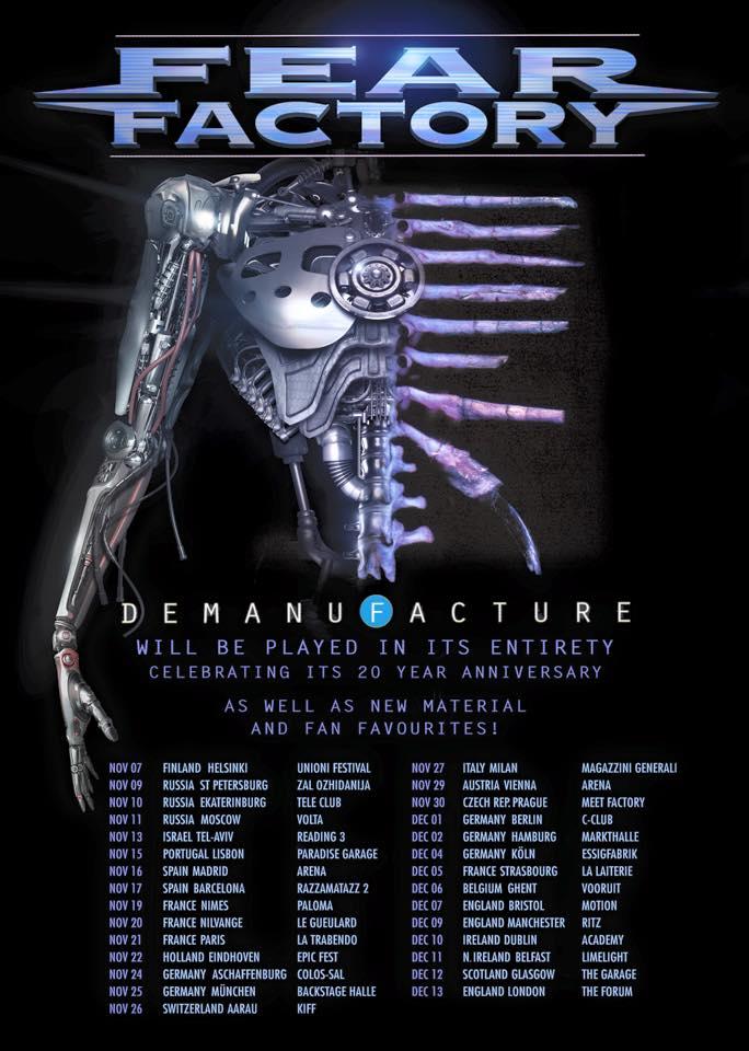 demanufacture 20th anniversary european tour fear factory. Black Bedroom Furniture Sets. Home Design Ideas